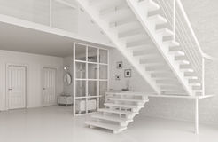 Interior of white hall with staircase 3d rendering Stock Images