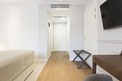 Interior of a white hotel corridor with closet Stock Photos