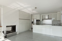 Interior, white kitchen Royalty Free Stock Photography