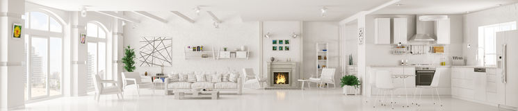 Interior of white living room panorama 3d rendering Royalty Free Stock Photo