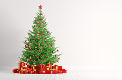 Interior of a white room with christmas tree 3d render Royalty Free Stock Image