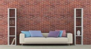 Interior with white sofa royalty free illustration