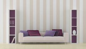 Interior with white sofa stock illustration