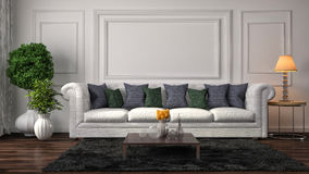 Interior with white sofa. 3d illustration Stock Images
