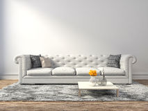 Interior with white sofa. 3d illustration Stock Photography