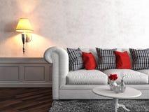 Interior with white sofa. 3d illustration Royalty Free Stock Photos