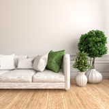 Interior with white sofa. 3d illustration Royalty Free Stock Images