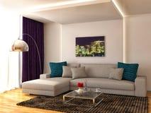 Interior with white sofa. 3d illustration Royalty Free Stock Photo