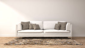Interior with white sofa. 3d illustration Royalty Free Stock Photography