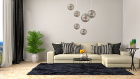 Interior with white sofa. 3d illustration Royalty Free Stock Photo
