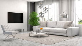 Interior with white sofa. 3d illustration Royalty Free Stock Photos