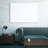 Interior with whiteboard and furniture. Front view of interior with blank whiteboard, leather sofa, wooden coffee table and cupboard with lamp. Mock up, 3D Stock Photos