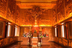 Interior of wholly teak wood church, Thailand. Teak wood of Wat Bang Kae Noi, Samutsongkram province, Thailand Royalty Free Stock Photography