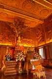 Interior of wholly teak wood church, Thailand Royalty Free Stock Photo