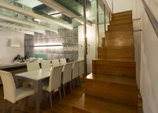 Interior, wide loft, dining room Royalty Free Stock Photography
