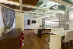 Interior, wide loft, dining room Royalty Free Stock Photos