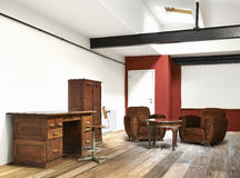 Interior wide loft. Office and wooden floor Royalty Free Stock Image