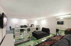 Interior, wide loft, studio Royalty Free Stock Photos