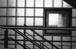 Interior window. Close up of an inside window looking out, from a building's hall and stairwell Stock Photos