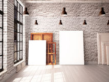 Interior with a window in the loft-style with posters and paintings. 3d vector illustration