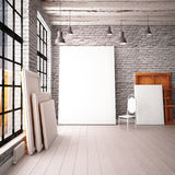 Interior with a window in the loft-style with posters and paintings. 3d royalty free illustration
