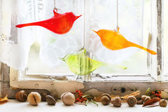 Free Interior Window With Glass Birds And Nuts Royalty Free Stock Image - 44801106