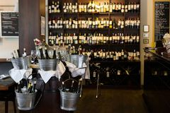 Interior of wine bar and restaurant. Closeup Stock Images