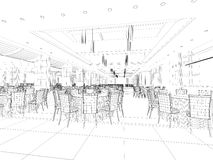 Interior wireframe plan Stock Photos