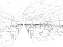 Interior wireframe plan. Computer generated architectural wire-frame plan Royalty Free Stock Image