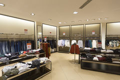Interior of women's clothes shop Stock Images