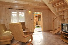 Interior of wood paneled house royalty free stock image