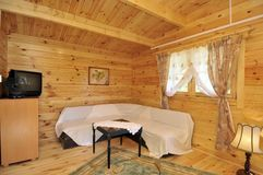 Interior of wood paneled house Stock Photo