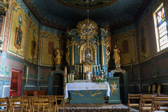 Interior of the wooden antique church in Podstolice near Cracow. Royalty Free Stock Images