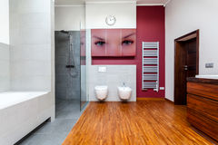 Interior of wooden bathroom Stock Photos