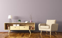 Interior with wooden cabinet and armchair 3d rendering Stock Photography