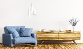 Interior with wooden cabinet and armchair 3d rendering. Modern interior of living room with wooden cabinet and blue armchair 3d rendering Stock Photography
