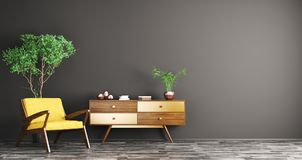 Interior with wooden cabinet and armchair 3d rendering Royalty Free Stock Images