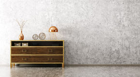 Interior with wooden cabinet 3d rendering Royalty Free Stock Photography