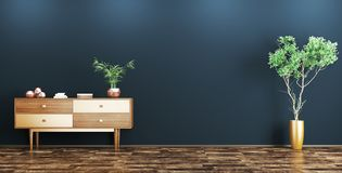 Interior with wooden cabinet 3d rendering Royalty Free Stock Image