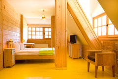 Interior of wooden cottage Royalty Free Stock Photo