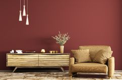 Interior with wooden dresser and armchair 3d rendering Stock Photography