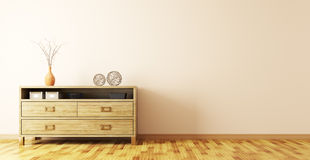 Interior with wooden dresser 3d rendering Royalty Free Stock Photos