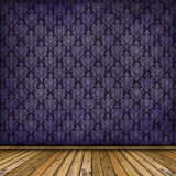 Interior with wooden flor and old wallpaper Stock Photography