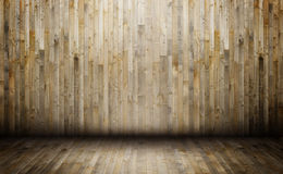 Interior of wooden house. Wooden floor and wall in old room Stock Images