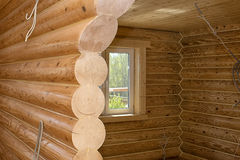 Interior of a wooden house Stock Images