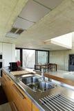 Interior, wooden kitchen island Royalty Free Stock Photo