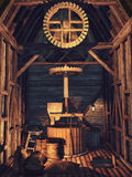 Interior of a wooden mill Royalty Free Stock Photo