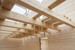 Interior of wooden new house. Royalty Free Stock Photography