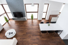Interior with wooden parquet Royalty Free Stock Images