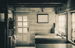 Interior of a Wooden Room Stock Photo